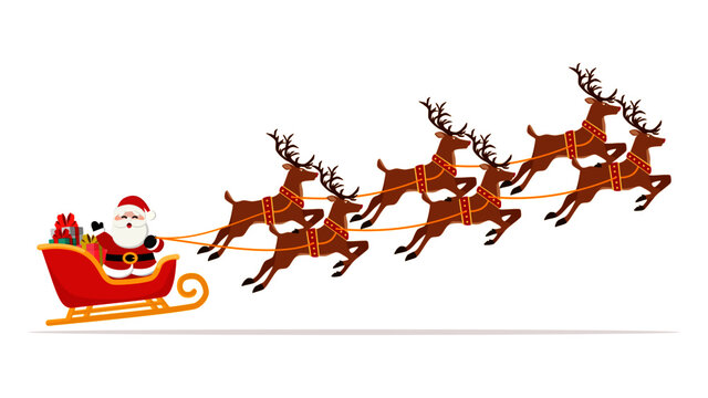 Santa Claus flying in sleigh with gifts and reindeer. Christmas and New Year celebration