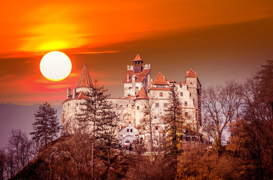 Spectacular sunset over Bran Castle, Transylvania, Romania. A medieval building known as Castle of Dracula.
