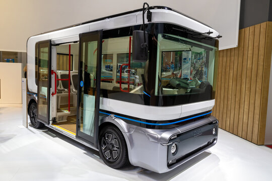 e.GO Mover electric bus showcased at the 89th Geneva International Motor Show. Geneva, Switzerland - March 6, 2019.