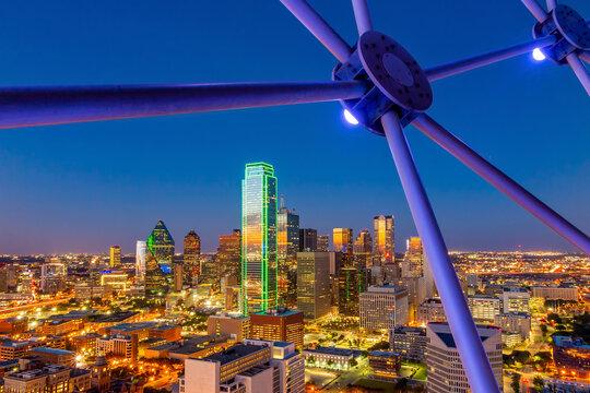 Dallas city downtown skyline cityscape of Texas USA