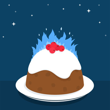 Christmas Pudding Fire On Plate Vector Illustration