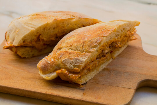 """Very tasty big sandwich with meat stuffed and homemade crunchy and fluffy bread. It is a traditional portuguese pork beef sandwich """"bifana"""""""