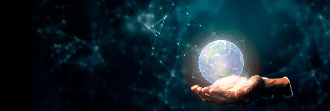 Hand on digital technology cyber space smart world, futuristic smart digital solution internet of thing wireless technology.
