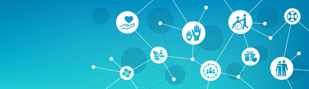 Volunteering and charity vector illustration. Concept with connected icons related to volunteer and community projects, welfare or charitable donations.