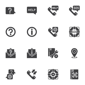 Technical support vector icons set, modern solid symbol collection, filled style pictogram pack. Signs, logo illustration. Set includes icons as faq, help support, telephone call, answer and question
