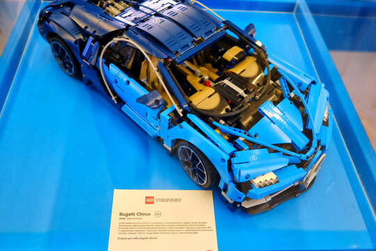 Bugatti Chiron made entirely from lego bricks, close-up - Russia, Moscow, 08 02 2019
