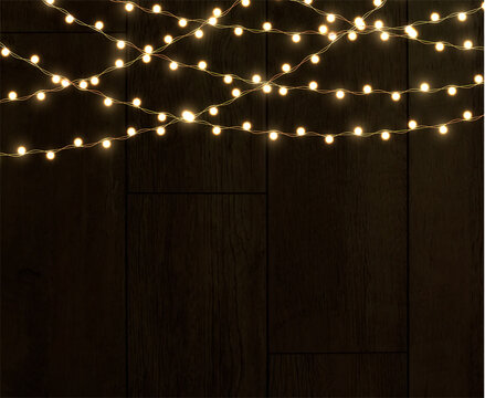 Celebratory vector of seamless isolated horizontal borders of light garlands. Christmas decor element.