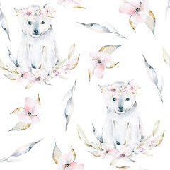 Hand drawing watercolor seamless pattern of cute polar bear, pink flowers, leaves. Iillustration...