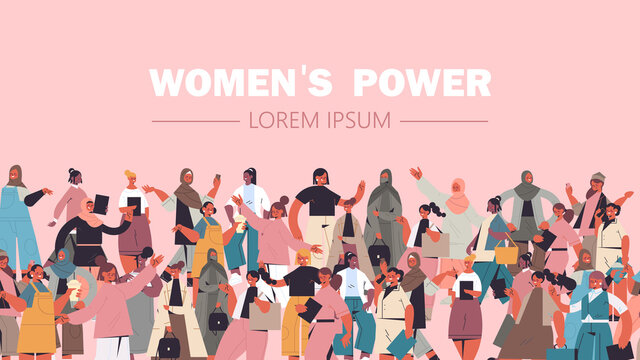 mix race girls of different nationalities and cultures standing together female empowerment movement women's power union of feminists concept horizontal portrait vector illustration