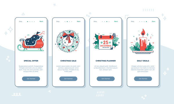 Vector Christmas onboarding screen templates. New Year mobile app concept. UX, UI, GUI color template. Special offer, Christmas sale, planner, daily deals, December 25. Red and green illustrations