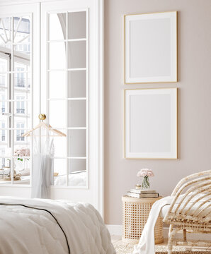 Mockup poster in luxury feminine bedroom, 3d render