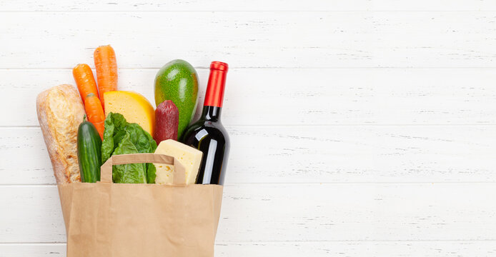 Different food in recycling paper bag