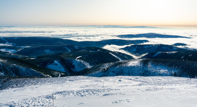 view on Krkonose mountain in czech republic during winter