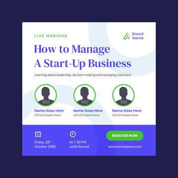 webinar poster design template vector