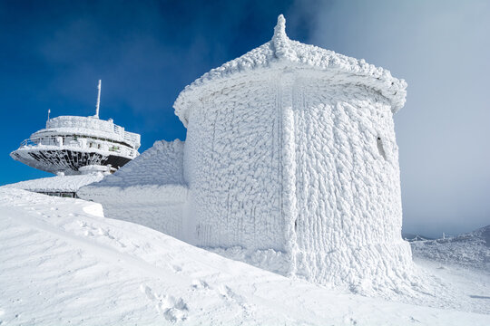 peak of Sniezka mountain in Krkonose during winter, Poland and Czech republic