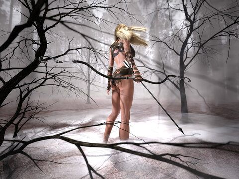 3D Photo of a Young Female Archer Walking Through the Woods