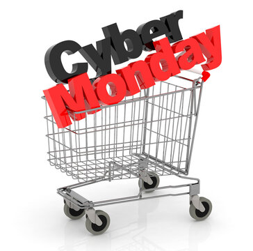 3D Text Cyber Monday in Shopping Cart