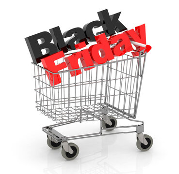 3D Text Black Friday in Shopping Cart