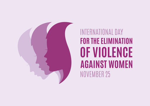 International Day for the Elimination of Violence against Women vector. Woman face profile purple silhouette vector. Pretty girl profile face silhouette vector. Stop violence against women vector