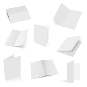 Set of half-fold brochure blanks. Vector.