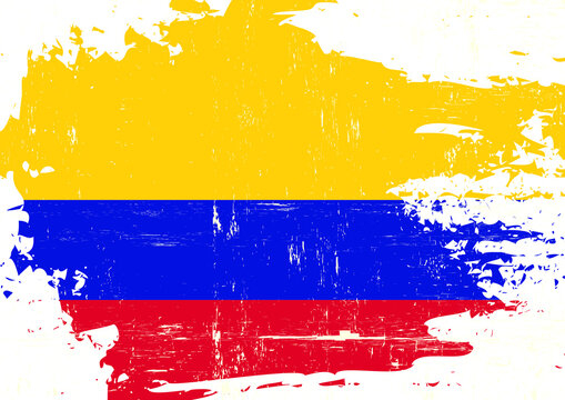 Colombian scratched flag. A colombian grunge flag for you