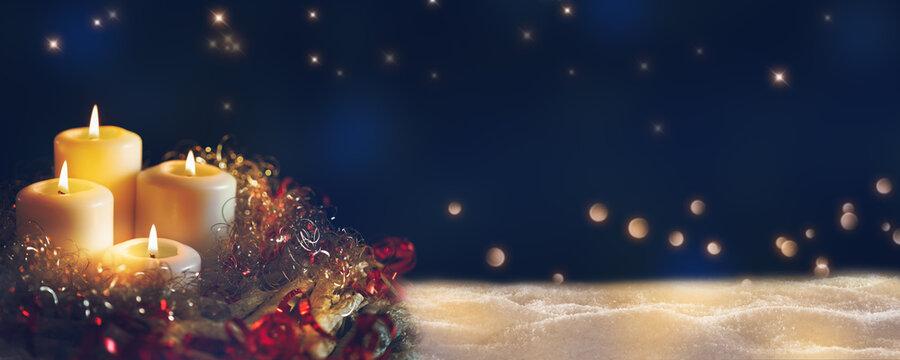 weihnachtliches kerzen gesteck