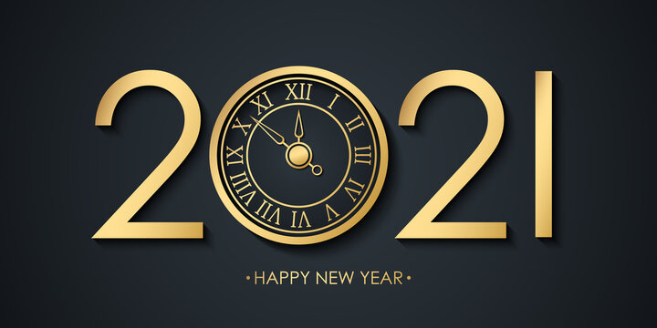 2021 New Year celebrate banner with 2021 numbers creative design, golden clock and Happy New Year holiday greetings. Vector illustration.