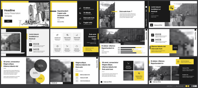 Geometric Yellow Presentation Element Templates. Vector infographics. For use in Presentation, Flyer and Leaflet, SEO, Marketing, Webinar Landing Page Template, Website Design, Banner.