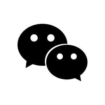 wechat instant messaging logo icon, silhouette style