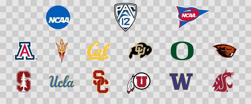 Logos of the Pac-12 colleges of the NCAA. Scalable Vector image.