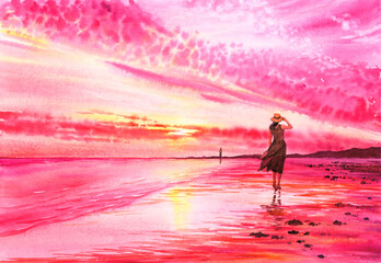 Watercolor Painting - A Lady is walking on beach at seaside