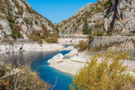 San Domenico Lake during autumn season, near Villalago village, Abruzzo, central Italy.