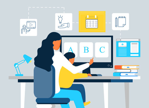 Online preschool concept vector. Young woman teaching son to read using website, virtual platform. Tutorial, lecturer, calendar, blogging icons are shown. Remote school lesson