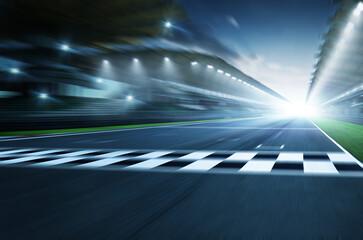 Night circuit motion blur road