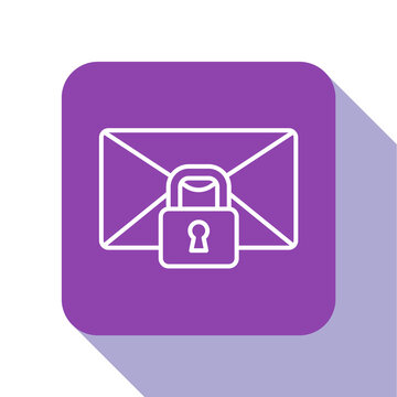 White line Mail message lock password icon isolated on white background. Envelope with padlock. Private, security, secure, protection, privacy. Purple square button. Vector.