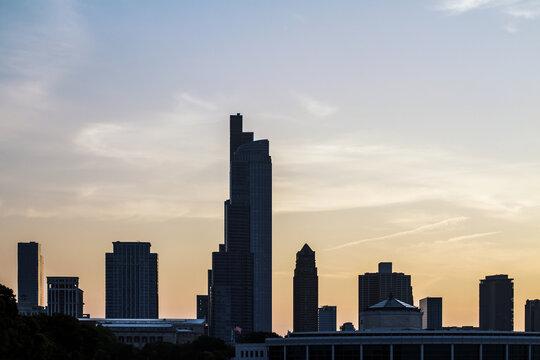 Beautiful Chicago skyline at dawn