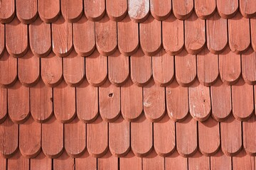 traditional wood texture tiles on a Swedish building in Sweden