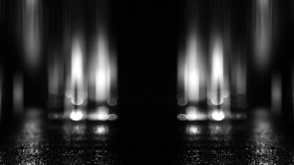 Fotomurales - Dark street, black background, glare of light on the wet asphalt. Rays and lines, smoke. Dark city street.