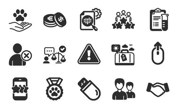 Star, Lawyer and Seo stats icons simple set. Business meeting, Couple and Usb stick signs. Medical analyzes, Swipe up and Pets care symbols. Handshake, Savings and Dog competition. Vector