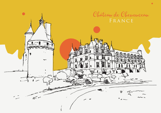Drawing sketch illustration of Chateau de Chenonceau