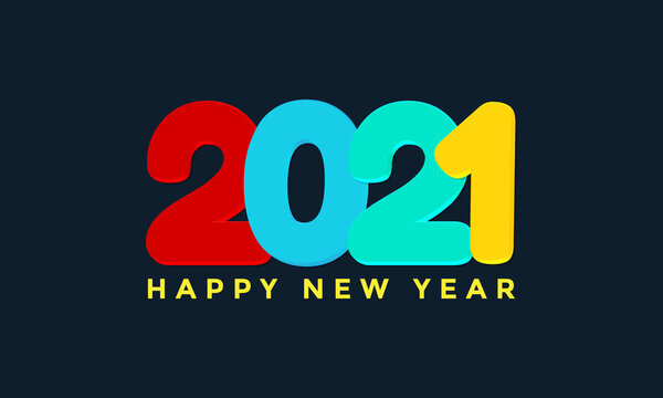 happy new year 2021 rounded balloon 3d colorful design vector