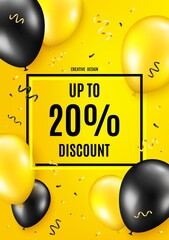 Up to 20% Discount. Balloon celebrate background. Sale offer price sign. Special offer symbol. Save 20 percentages. Birthday balloon background. Celebrate yellow banner. Party frame message. Vector