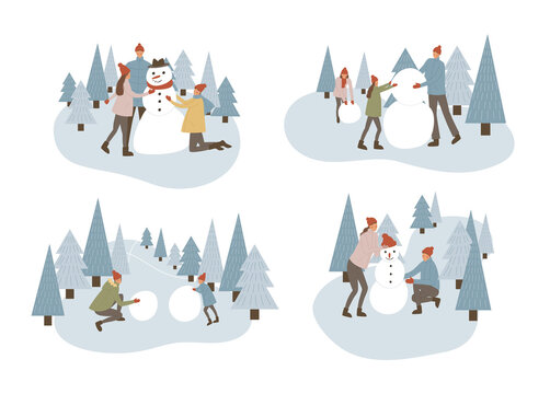 Family making snowman set