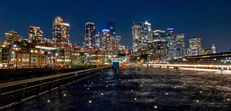 Seattle Skyline from the new waterfront Pier 62