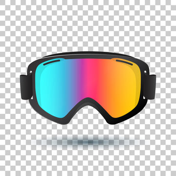 Motocross or mountain bike goggles with polarized lens islolated on transparent background. Vector Illustration.