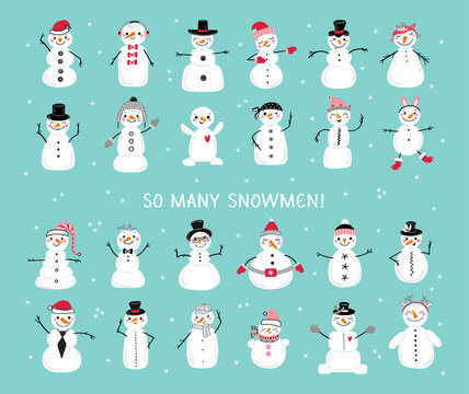 Vector Set of Cute Snowmen. Cartoon Funny Snowman Collection. Winter Holidays, Christmas and New Year Design
