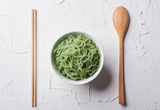 top view green shirataki noodle (konjac) in bowl background. Japanese food