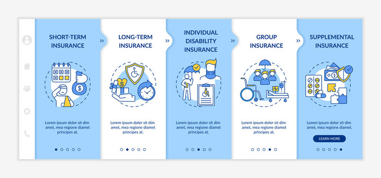 Disability insurance types onboarding vector template. Long and short insurance types. Health medical care. Responsive mobile website with icons. Webpage walkthrough step screens. RGB color concept