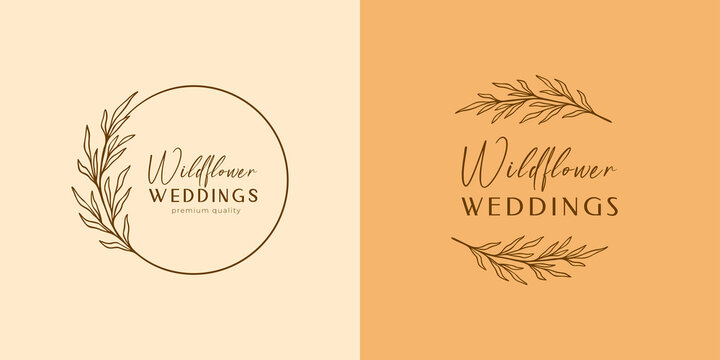 Floral eucalyptus label set, package. Wildflower linear logo sketch. Floral wreath emblem wedding design. Outline vintage herbs in modern simple style. Vector illustration isolated on background