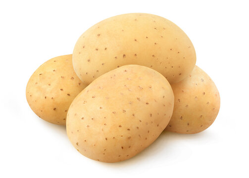 Pile of raw washed potatoes isolated on white background